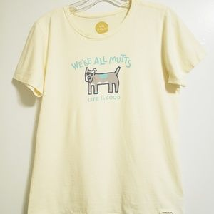 """Life is Good """"We're All Mutts"""" Dog Tee Yellow"""